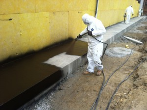Below grade waterproofing for new construction.